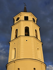 Bell Tower of the Vilnius Cathedral (RobertLx) Tags: belfry belltower tower sky clouds sunset cathedral church christian vilnius baltic lithuania city architecture catholic building europe symmetry