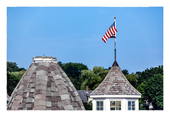 Twofer with Flag (Timothy Valentine) Tags: 2018 fbpost 0818 rooftop cupola flag sky vacation f hrsw camden maine unitedstates us