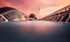 The city.... (Anto Camacho) Tags: cityofsciences cityscape sunset longexposure water colours pink landscape valencia canon spain comunitatvalenciana
