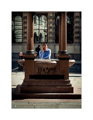 Hot Desk (Dave Fieldhouse Photography) Tags: fountain cornhillfountain cornhill london streetphotography street mobilephone phone summer worker city person colour pavement monument portrait capital urban candid fujifilm fujixpro2 fujinon35mmf2 wwwdavefieldhousephotographycom blog shadows lightandshade marble alter