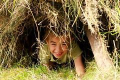 sluipen onder de hooimijt (regionaal landschap Schelde-Durme) Tags: waasmunster kinderen pdpo lia natuurbeleving hooiland speelnatuur landschap landbouw biodiversiteit samenwerken