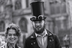 Looking _G5A0218 (ronniefleming@btinternet.com) Tags: portrait streetportraiture candid edinburgh thefringe blackandwhite rawstreetphotography ph31fy ronniefleming tophat gaze badges smiles bokeh brighteyes people bw portraiture street