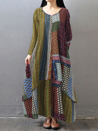 15defd74560 Gracila Women Printed Double Layers Long Sleeve Asymmetric Maxi Dresses  (1213422)  Banggood (