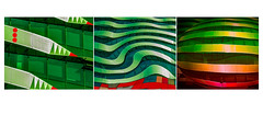 Tarantino Trio (trebandicoot (Lynn)) Tags: architecture creative anthropomorphic trio triptych photoshop colour building australia tarantino brisbane geometric abstract lines design vibrant mabuilding fortitude valley fortitudevalley artistic