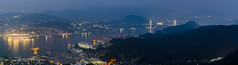 Nagasaki Harbour view (beeldmark) Tags: schemering kyushu natuur boot landschap water nagasaki bergen zee stad blauweuur japan bluehour city landscape nature nihon nippon sea berg boat dusk mountain mountains schip ship twilight 九州 山 日本 長崎 nagasakishi nagasakiken jp brug panorama pano beeldmark pentax k5
