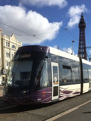 Modern Blackpool Tram and 19th century Tower in background. (Bennydorm) Tags: borough bombadier blackpooltransport blackpooltram oldandnew publictransport tramways tramway modern electric clouds sunny septembre september iphone6s inglaterra inghilterra angleterre europe uk gb britain england lancashire resort blackpool blackpooltower tower seafront transport tram