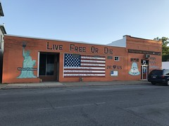 The beautiful painted Wheatley Building in Moline, Illinois. (arwed.kubisch1) Tags: moline rock island county illinois city stadt wheatley building haus slogan spruch graffito grafitti painting malerei flag flagge usa united states jesus symbol symbole kreuz crosses christianity christentum strasse wolkenlos cloudless
