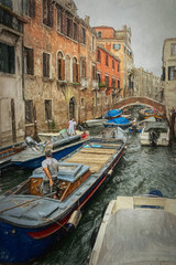 Traffic Jam, Venetian Style (Sh4un65_Artistry) Tags: digitalart landscape italy2018 water italy boats topaztextureeffects topazimpression textured paintedphoto painterly painteffect city people buildings topaz coastal digitalpainting events artwork bridges streets places transport venice