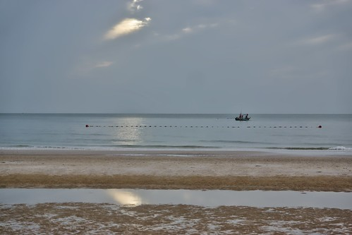 Cloudy morning at the beach in Hua Hin, Prachuap Khiri Khan, Thailand