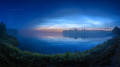 Misty river and noctilucent clouds (M.T.L Photography) Tags: dusk riveriijoki mist fog water trees night noctilucent clouds valaiseviayöpilviä mtlphotography mikkoleinonencom nikond810 panoramicphotography sky blue grass green flowers stars