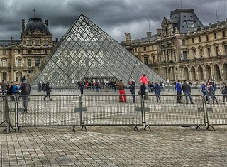 Louvre  - Paris - France  ~   I.M. Pei's glass pyramid in 1989 ~ Courtyard