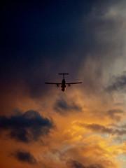 Racing the Light (Steve Taylor (Photography)) Tags: blue brown orange newzealand nz southisland canterbury christchurch silhouette sunset spring plane aeroplane aircraft cloud sky