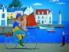 Belle-Île-en-Mer: Jean-Pierre Lorand's Sauzon (Henk Binnendijk) Tags: sauzon painting art kunst schilderij belleîleenmer belleîle haven harbour port jeanpierrelorand zeemeermin mermaid bretagne brittany breizh
