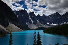 Moraine lake with its beautiful turquoise color (drafiei1) Tags: moraine lake morainelake turquoise color mountain clouds scenery landscape nikon rockies banff banffnationalpark lakelouise alberta 20dollarbill 20dollar