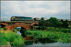 56081, Manton Viaduct (Jason 87030) Tags: 56081 brblue grid viaduct brick bridge canal manton chesterfield burt loco engine train mgr freight old scan 1987 vieww crossing support railways classic coal water spot
