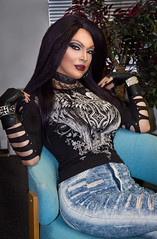 Casual Gothic Chick look (Juliapanther Over 56 million views, thanks!!!) Tags: julia panther juliapanther makeup makeover goth gothic chick choker denim jeans blue top gloves tgirl posing model beauty lips lipstick leather lace glamour portrait