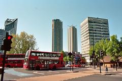 London 6 (Lennart Arendes) Tags: canon ae1 analog 35mm kodak portra160 london street buildings architecture southwark bus elephant castle