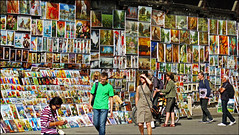 Want to Buy a Painting? - Krakow, Poland (TravelsWithDan) Tags: paintings artwork market citywall krakow poland oldtown candid people outdoors city urban forsale canong3x ngc