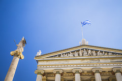 20180919_F0001: The gods are watching over the academy (wfxue) Tags: greece athens academyofathens nationalacademyofgreece building neoclassical gods athena statue art column flag sky blue architecture