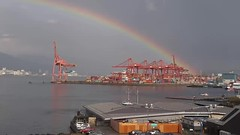 Vancouver Rainbow Video Sept 2018 (CanadaGood) Tags: canada bc britishcolumbia vancouver downtown burrardinlet video harbour rainbow mountain industry canadagood 2018 thisdecade color colour cameraphone