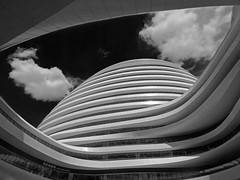 Galaxy SOHO (RobertLx) Tags: black beijing china asia architecture building modern contemporary lines clouds monochrome bw zahahadid city galaxysoho sohogalaxy chaoyangmen yinhesoho