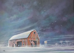 Old Red Barn (Art by MarkAC) Tags: winter snow cold wind old red barn acrylics box canvas art artwork painting