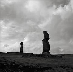 Ahu Tahai, Ahu Ko Te Riku, Easter Island (austin granger) Tags: easterisland rapanui ahutahai ahukoteriku moai topknot platforms statues carving evidence clouds archaeology square film gf670