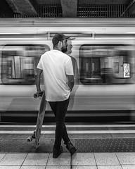 Waiting (Sam Codrington) Tags: londonunderground bnw districtline people mono tfl mansionhouse skateboard bw vladrusu circleline longboard underground london blackandwhite monochrome transport england unitedkingdom gb tube