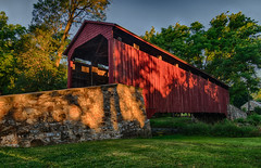 Covered in Shadows (tquist24) Tags: hdr lancastercounty nikon nikond5300 outdoor pennsylvania poolforgecoveredbridge architecutre coveredbridge geotagged rural sky summer tree trees narvon unitedstates goldenhour morning shadow shadows