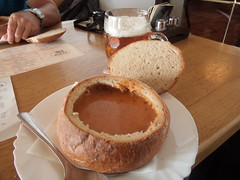 "Goulash soup in a loaf of bread at a mountain chalet restaurant ""Chata Jiřího na Šeráku"" (nohavica.zivel) Tags: goulash soup loaf bread mountain chalet restaurant chatajiříhonašeráku šerákjeseníky moravia czech"