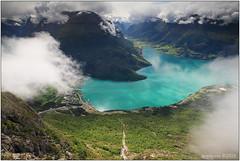 Emerald in the clouds (seeneasy) Tags: norway norvegia rocce rocks clouds nuvole seeneasy canon canon5dmarkii canonef1635f4lisusm natura nature estate summer nordfjord burrone precipizio strapiombo fiordi fiordo fjord loen loenskylift