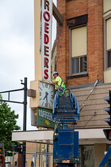 Clock Work (Lester Public Library) Tags: tworiverswisconsin tworivers downtowntworivers schroeders schroedersdepartmentstore schroedersstore store departmentstore downtown wisconsin sign signage storesign signinstallation cranes lesterpubliclibrarytworiverswisconsin readdiscoverconnectenrich