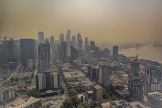 Wildfire blighted Seattle cityscape from the Space Needle