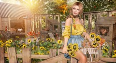 Sunflowers and Chickens (Duchess Flux) Tags: theliaisoncollaborative weloveroleplay collabor88 n21 uber fameshed zenith truth deetalez catwa seydr lelutka serenitystyle jian nutmeg secondlife farm rural sl shinyshabby zerkalo littlebranch