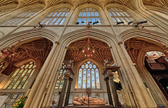 Bath Abbey (abtabt) Tags: unitedkingdom uk england bath georgianarchitecture architecture abbey church handheldhdr d700sigma1224 stainedglass up