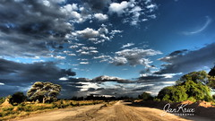 Near Katima Mulilo (jan-krux photography - thx for 3 Mio+ views) Tags: katimamulilo katima mulilo namibia africa afrika landscape landschaft evening abend clouds wolken zambesi river fluss driving fahren road strasse gravel unpaved unbefestigt ungeteert reisen travel abenteuer adventure olympus omd em1 himmel sky dramatic dramatisch 4x4 offroad