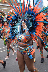 DSC_8274 Notting Hill Caribbean Carnival London Exotic Colourful Blue and Orange Costume with Feather Headdress Girls Dancing Showgirl Performers Aug 27 2018 Stunning Ladies (photographer695) Tags: notting hill caribbean carnival london exotic colourful costume girls dancing showgirl performers aug 27 2018 stunning ladies blue orange with feather headdress