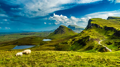 The Quiraing, Isle of Skye - Scotland (Patrik S.) Tags: scotlang ngc landscpae grass field sky clouds mountains hills road isle skye uk united kingdom romantic nature summer sheep green blue white lakes late afternoon paradise tranquil enchanted light garden eden disctance travel vacation hiking quiraing