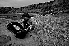First Trip to the Seaside BW (matthewblackwood10) Tags: first trip seaside black white sea ocean beach shore coast shoreline pier cove bay scotland creel aberdeenshire mum mom mother baby son happy smile fun boat boats