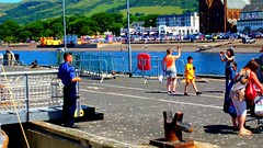 Scotland West Coast Largs 100's of people getting on the paddle steamer Waverley video 1 July 2018 by Anne MacKay (Anne MacKay images of interest & wonder) Tags: scotland west coast largs pier passengers people clyde paddle steamer waverley town buildings 1 july 2018 video by anne mackay