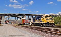 "Southbound Local in Kansas City, MO (""Righteous"" Grant G.) Tags: atsf santa fe bnsf ns norfolk southern railway railroad locomotive train trains south southbound kansas city missouri emd ge power engine local transfer freight"