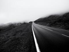 Into the Fog (Feldore) Tags: faroe faroeislands clouds fog foggy landscape lines moody mountains road feldore mchugh em1 olympus 1240mm markings