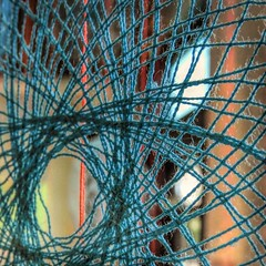 Webbing Lace (clarkcg photography) Tags: lace handspun threaded embroidery thread blue weave web macrofriday macrosquare