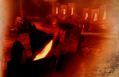 Hell (Milla DelRay) Tags: sl secondlife landscape hell texturized architecture volcano rocks fire lava ruins