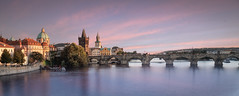 Charles Bridge at Sunset (Dave6163) Tags: bridge prague sunset city people europe czechrepublic water river buildings trees fuji fujifilm xt2 boat evening sky tower tree building dusk