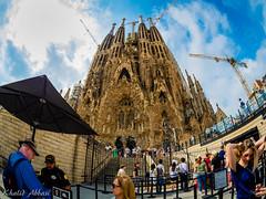 Baroque Sagrada Familia - Barcelona, Spain. (Khalid H Abbasi) Tags: panasonicdmcgx7 samyang75mmf35fisheyelens spain barcelona catalonia sagradafamilia fisheyelens wideanglephotography travelphotography romancatholicchurch church sky unescoworldheritagesite antonigaudí gaudiarchitecture basilica