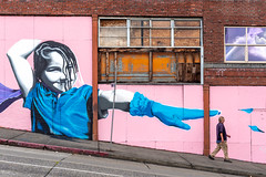 Just Out of Reach (llabe) Tags: man person mural streetphotography street urban downtown tacoma washington nikon d750