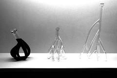 photo - Wine Carafes, SFMOMA BW (Jassy-50) Tags: photo sanfrancisco california sanfranciscomuseumofmodernart sfmoma museum artmuseum howwinebecamemodern exhibit winedecanter grapevineroots roots wine decanter art artwork blackwhite