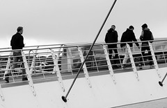 crossing the millennium (Mr Ian Lamb 2) Tags: people mono monochrome bandw gateshead newcastle quayside rivertyne tyneside millennium bridge