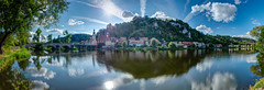 Sunday afternoon (Karsten Gieselmann) Tags: 1240mmf28 bavaria bayern blau brücke deutschland em5markii exposurefusion farbe filter flusskanalbach gegenlicht germany graufilter grün hoya jahreszeiten kallmünz kirche mzuiko microfourthirds nd nd64 naab neutraldensityfilter neutraldichtefilter nisi olympus panorama polarisationsfilter polfilter sakralbauten sommer sonne weis wetter wolken backlight blue clouds color creek green kgiesel m43 mft polarizingfilter river seasons summer sun weather white